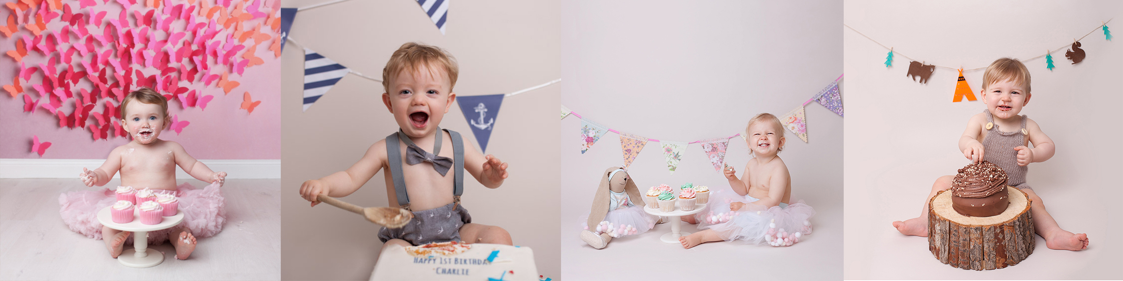 cake smash photoshoot Edinburgh, montage of professional cake smash photos by Edinburgh photographer Beautiful Bairns