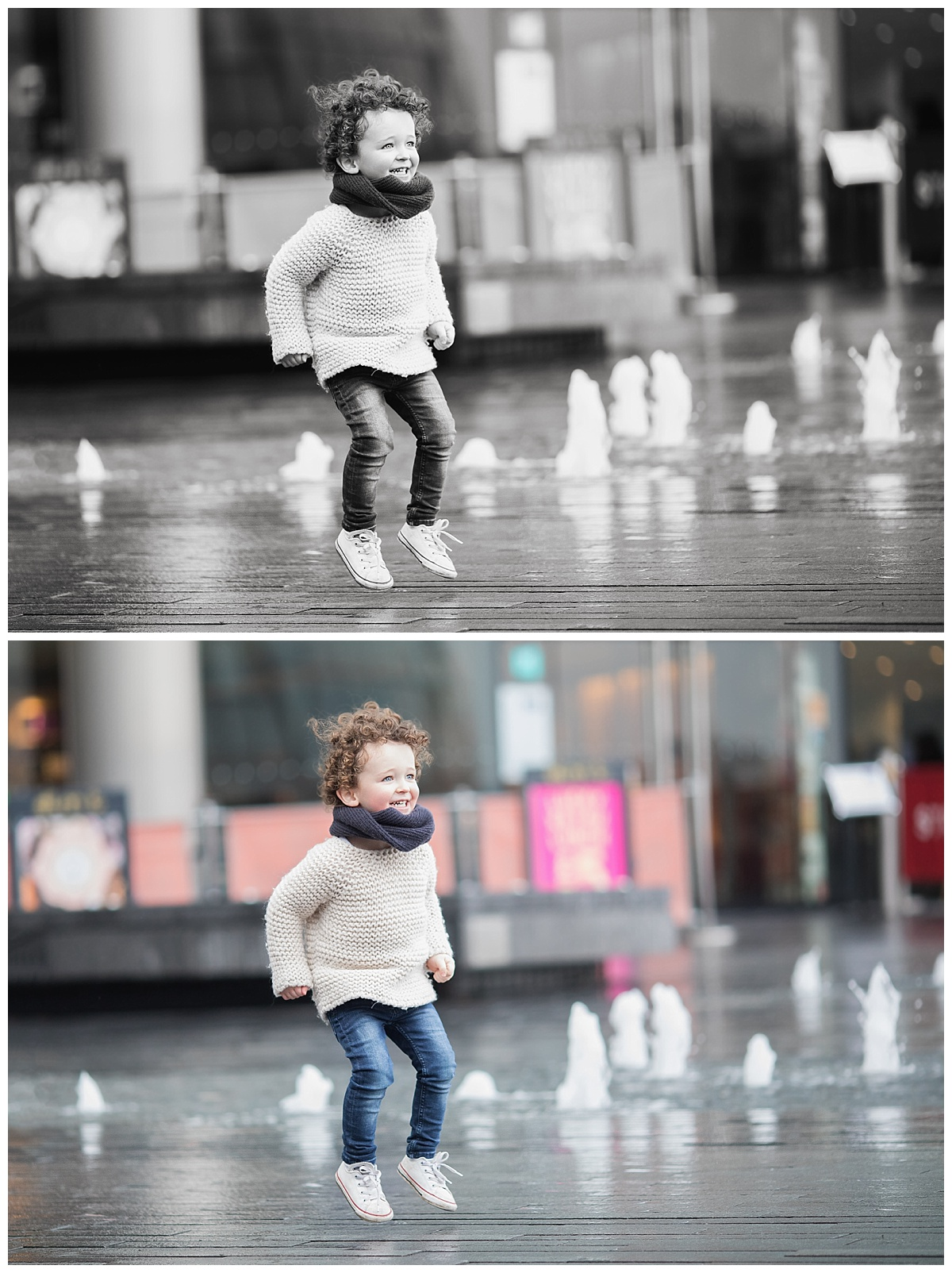 professional photos of a curly haired toddler outside in Edinburgh. Beautiful Bairns Photography, professional children and family photographer Edinburgh