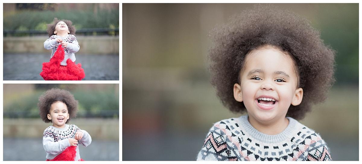 family photographer edinburgh, smiling girl with afro hair professional photography by beautiful bairns photography Edinburgh