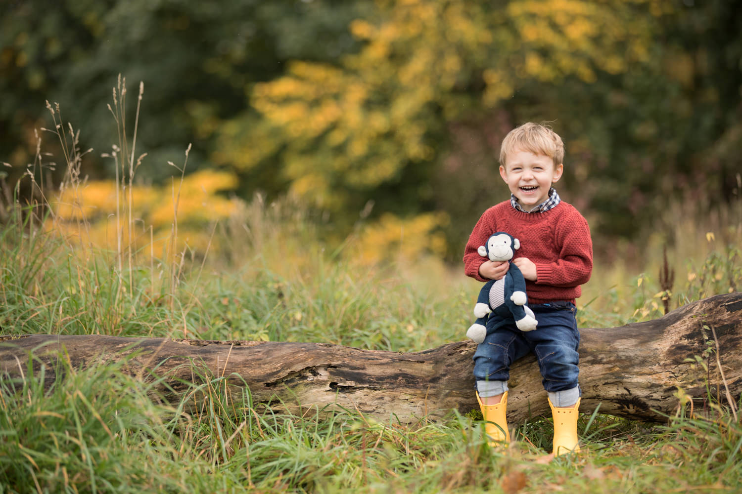 professional family photograph of three generations of a family sitting on a tree log in the woods by family photographer Beautiful Bairns Photography Edinburgh taken at Cammo estate Edinburgh