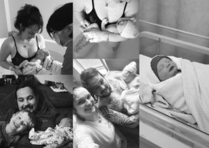 montage of photos showing carolines birth story at edinburgh royal infirmary simpsons maternity unit during the corona virus lockdown pandemic