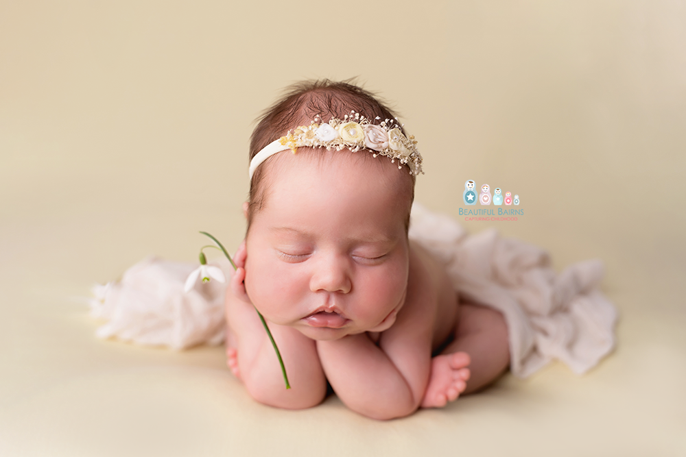 newborn baby girl in froggy pose holding a snowdrop on a lemon yellow blanket. Professional newborn photography by Beautiful Bairns Photography Edinburgh